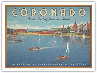 Coronado Island, California - Across The Bay from San Diego - Hotel Del Coronado - Sailing - Vintage Style World Travel Poster by Kerne Erickson - Master Art Print - 9in x 12in