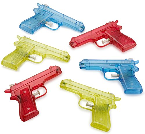 Kicko 6 Pieces Squirt Water Gun 6 Inches Plastic Assorted Colors - Classic Action and Fun Toy, Pool, Prize, Party Favor