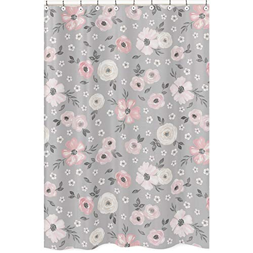 Sweet Jojo Designs Grey Watercolor Floral Bathroom Fabric Bath Shower Curtain - Blush Pink Gray and White Shabby Chic Rose Flower Farmhouse