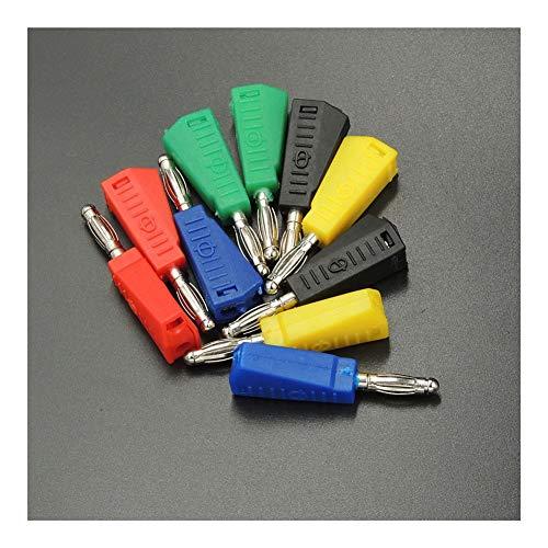 WFBD-CN Batterieklemmen 100pcs / Lot 5 Farbe Plastic Head 4mm vernickelt Audio-Lautsprecher-Bananenstecker-Adapter Lötverbinder Test Probe Binding Post