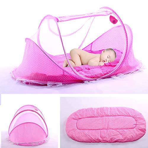 Lit Bébé, Berceau de voyage pliable, pour bébé avec Tente moustiquaire, Lit d'appoint léger avec matelas épais,1 kg, pour bébés de 0 à 3 ans size 110 * 65 * 60cm (Rose)
