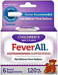 FeverAll Children's Acetaminophen Suppositories, 120 mg - 6 ea, Pack of 2