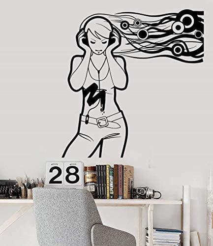Muursticker-Tiener Meisje Muziekliefhebber Koptelefoon 42X44Cm/Sticker/Doorbraak/Zelfklevende Muurschildering/Muursticker/Steen/Muurdoorbraak/Muursticker/Tatoeage