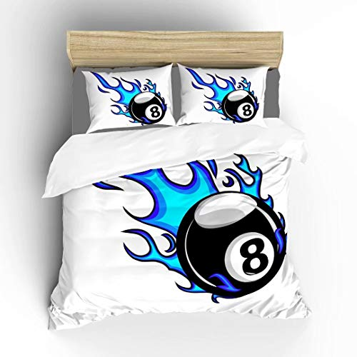 Aluy's boutique Billiards Pool Snooker 8 Ball with Simple Flames Ultra Soft Bedding Sets Duvet Cover Set, Twin Size 2 Pieces with 1 Duvet Cover and 1 Pillowcase, Best Gift for Kids, Boys, Girls