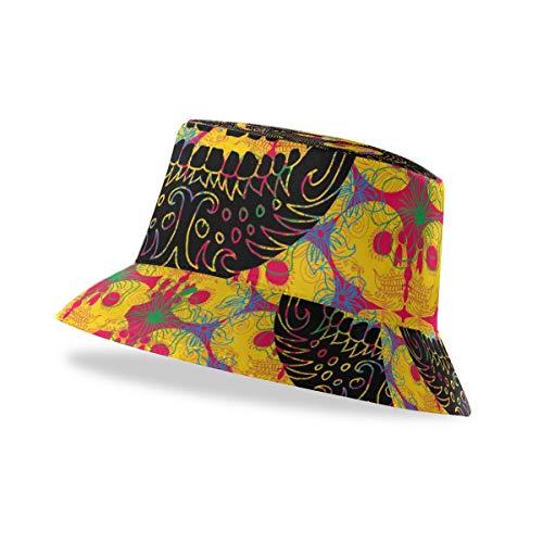 XIXIKO - Gorro unisex con diseño de calavera de flores tribales y parte superior plana, visera de verano, gorra de pescador, escuela y deportes al aire libre para hombres, mujeres y adolescentes