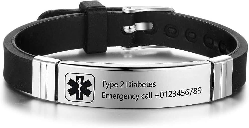 Medical Alert Bracelet Custom Engraved Sport Name ID Identification Adjustable Bracelet for Men Women Stainless Steel Rubber