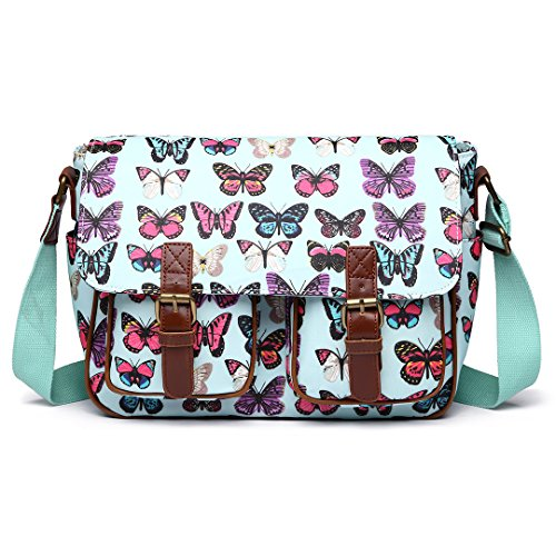 Miss Lulu Women Handbags Oilcloth School Printing Cross Body Satchel Shoulder Hand Cross Body Messenger Bags (Butterfly Green)