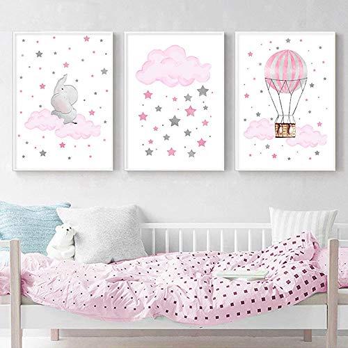 Juego de 3 Cuadros Habitacion Bebe Niña Posters Elefante Nube Estrella Globo Rosa Ilustraciones para Enmarcar Laminas Nordicas Infantiles Niños sin Marco NPTWC007-S