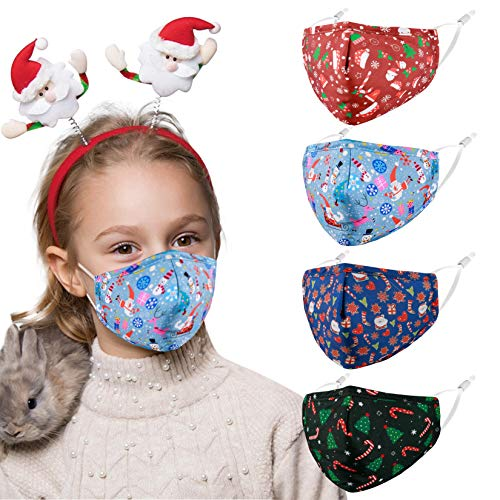 Christmas Kids Toddler Face Mask, Reusable Washable Cloth Protection Fabric Adjustable Breathable Dustproof Santa Designer Mouth Cover cubrelavables Outdoor Gift for Boys Girls Children