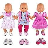 Miunana Vestidos Muñecas Verano Casual Ropas Fashion para 14- 18 Pulgadas Muñeca bebé 35 -45 cm Doll...