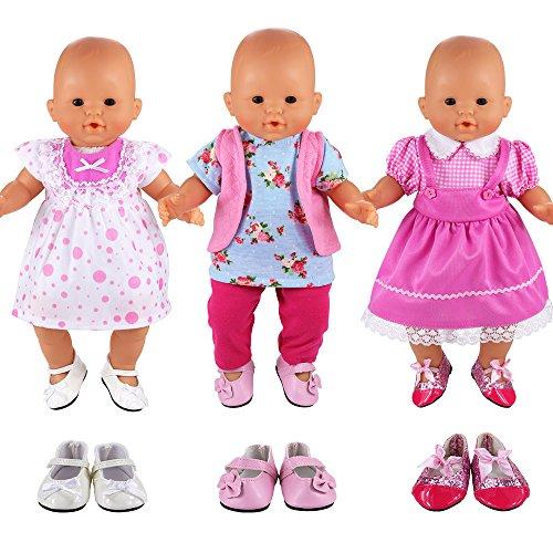 Miunana Vestidos Muñecas Verano Casual Ropas Fashion para 14- 18 Pulgadas Muñeca bebé 35 -45 cm Doll 18 Pulgadas American Girl Doll (3x Vestidos + 3x Zapatos Muñeca)