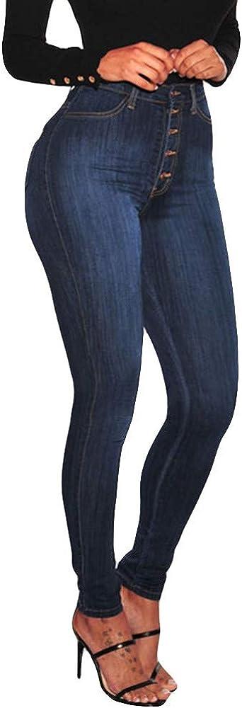 Women's Jeans High Waisted Skinny Stretch Slim Button Closure Petite Calf Length Jeans Long Denim Jeans