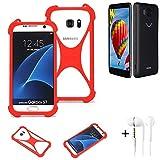 K-S-Trade® Handyhülle + Kopfhörer Für Vestel V3 5580 Schutzhülle Bumper Silikon Schutz Hülle Cover Case Silikoncase Silikonbumper TPU Softcase Smartphone, Rot (1x),