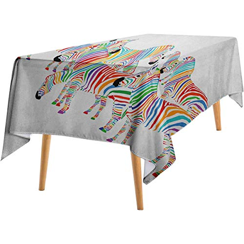 LanQiao Funny Square Tablecloth Colorful Cute Animal Herd with Rainbow Stripes Figure Digital Art Print Modern Safari Wild Long Tablecloth 54'x72' Multicolor