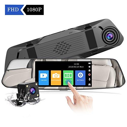 【2020 Neue Version】CHORTAU Spiegel Dashcam 4,8 Zoll Touch Screen Full HD 1080P, Weitwinkel Frontkamera und wasserdichte Rückfahrkamera, Auto Kamera mit Notrufaufzeichnung, Reverse Monitor System