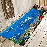 Blue Dolphin Ocean Print 17MM Thick Memory Foam Bathroom Carpet and Door Mat Non-Slip Absorbent Super Bath Mats Comfortable Flannel Bathroom Carpet Bed Rug 47 X 18 Inches