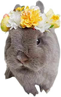 Stock Show Small Animal Handmade Flower Headband Cute Beautiful Wreath Floral Garland Crown Headpiece with Ribbon for Small Pet Rabbits Guinea Pigs Hamster Festival Wedding Party Photo Props, Yellow