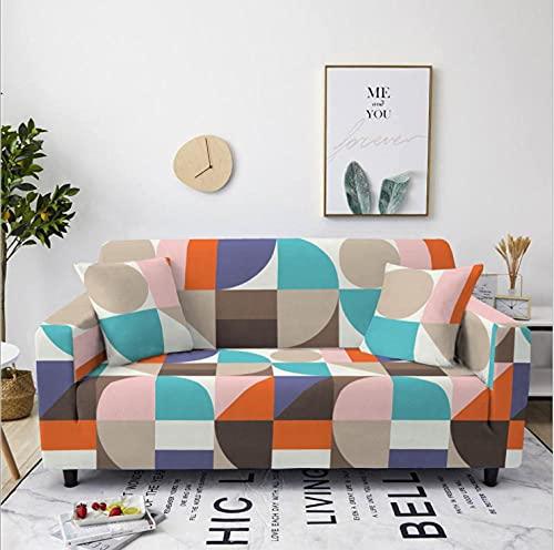 Tela Escocesa Azul marrón Funda de sofá de 1 Plazas Funda Elástica para Sofá Poliéster Suave Sofá Funda sofá Antideslizante Protector Cubierta de Muebles Elástica