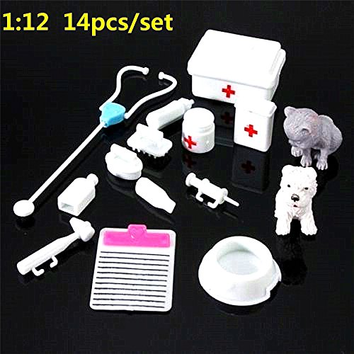 EatingBiting 14Pcs Set Mini Dollhouse Miniatures Kids Doctor Medical Equipment Kit Doll Toys for Dolls Bear Dollhouse Miniatures , Kids Interest Intellectual Cultivated .