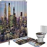 Juego de cortinas baño Accesorios baño alfombras Ciudad Alfombrilla baño Alfombra contorno Cubierta del inodoro Arquitectura moderna del centro de Londres del centro de finanzas globales Famosa ciudad