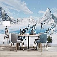 カスタム3D写真壁紙ペンギン雪山壁画リビングルーム寝室背景壁の装飾絵画-350x250cm