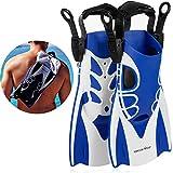 Khroom® Kurzflossen verstellbar mit Flossentasche zum umhängen und weichem Fersen-Pad (Blau, 40-45)