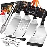 OVERMONT Set Barbecue 13 Pezzi Professionale Acciaio Spatola Inox Kit di Accessori per Grill, Ideale...