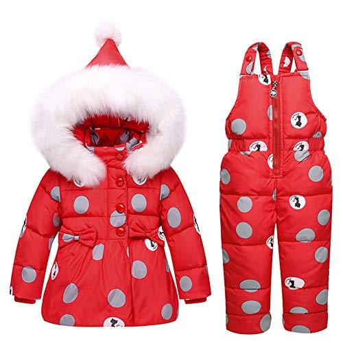 MYRCL Bébé Cute Girl Dot Impression Habineige Hiver Chaud Neige bébé Costume Capuche en Fourrure Veste Puffer Bas Pantalon de Ski Bavoir Ensemble 2 pièces Outfit / 1-3 Ans,Rouge,90cm