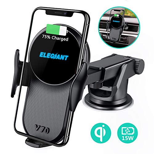 ELEGIANT 15W Fast Wireless Charger Auto Handyhalterung Induktiver Ladestation 2 in 1 Kfz Handy Halterung mit Lüftungs- & Saugnapfshalterung für iPhone XS/X/8 Samsung S20 /S20+ /S20 Ultra /S9/S8 usw