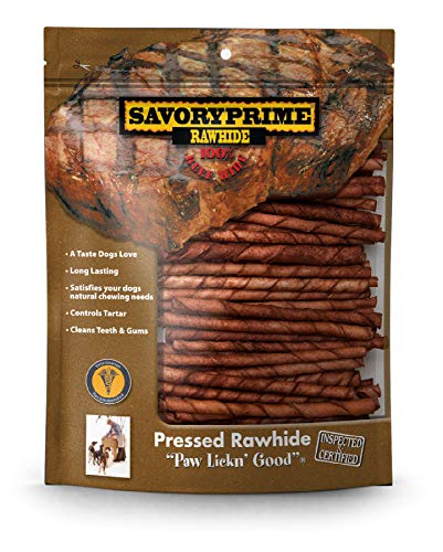 Savory Prime Twist Stick Dog Chewable Natural Pet Chew Treats Brown 5in 100Pack