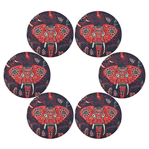 QMIN Juego de 6 manteles individuales redondos, diseño tribal de elefante indio, resistente al calor, antideslizante, lavable, para mesa de comedor, cocina, decoración del hogar