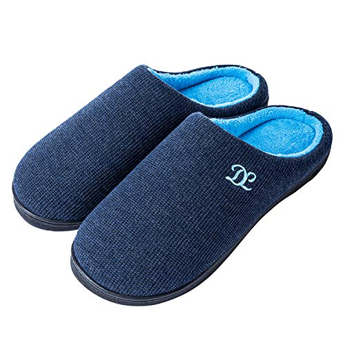 DL Mens Memory Foam Slippers, Slip on Bedroom Slippers for Mens Indoor Outdoor, Men's House Slippers Non-Slip Hard Rubber Sole, Warm Soft Flannel Lining Man Slippers Size 11-12 Navy