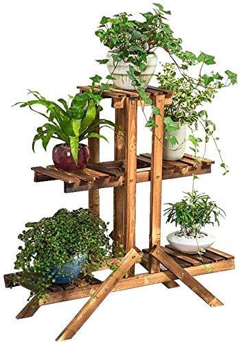 BINGFANG-W Soporte Moderna de la flor del soporte de madera sólida Sala de estar Balcón de varias filas de escalera simple suculentas Estante for suelo de Bonsai Plant soporte de carbón de interior al