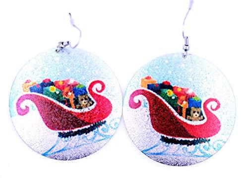 Lizzyoftheflowers - Orecchini a forma di pallina di Natale con brillantini