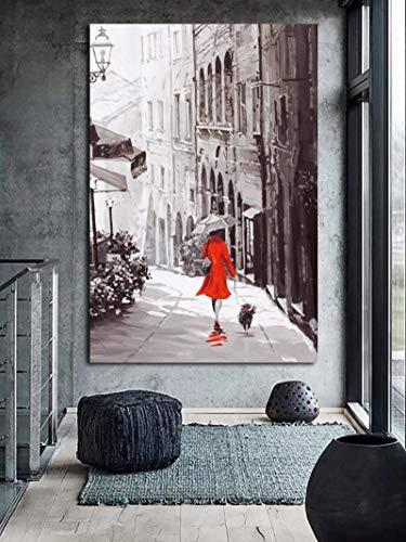 Geiqianjiumai Rote Frau mit Hundekleidung am regnerischen Tag Moderne Wandkunst Stadt Landschaft Leinwand Poster Bild Rahmenlose Malerei 50x75 cm