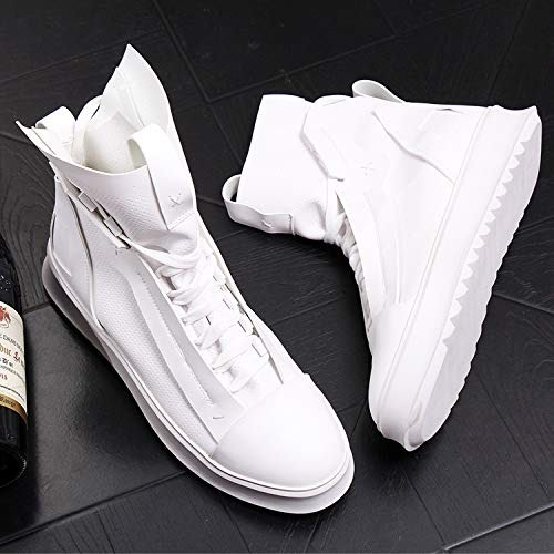 Shukun Bottes pour hommes Bottes Courtes pour Hommes Bottes de Cow-Boy pour Jeunes Bottes Martin augmentées Chaussures Montantes Blanches Bottes en Cuir pour Hommes