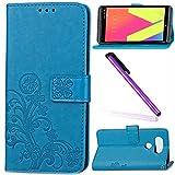 LG V20 Cover LG V20 Case EMAXELER Stylish Wallet Case Kickstand Flip Embossing Credit Cards Slot Cash Pockets PU Leather Flip Wallet Case with Stand for LG V20 H990N Clover Blue