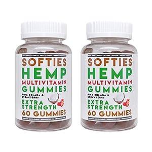 Softies Gummies Hemp Oil Infused Multivitamin Gummies for Kids & Adults – Organic Hemp Oil, Omega 3-6-9, Vitamin A, C, B3, B6, B12, Zinc, – Pina Colada Strawberry – 60 Gummies per Bottle, 2 Pack