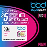 $5 Prepaid 4G LTE SIM Card GSM (T-Mobile) - 450 Flex Units (Talk, Text, or Data) Trial Plan by Blue Beat Digital