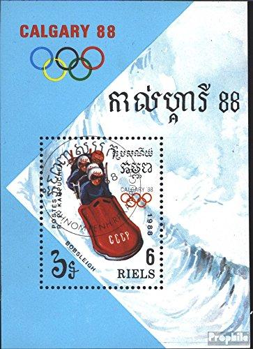 Prophila Collection Kambodscha Block156 (kompl.Ausg.) 1988 Olymp. Winterspiele ´88, Calgary (Briefmarken für Sammler) Wintersport