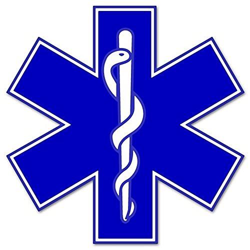 "Rogue River Tactical EMS EMT Star of Life Sticker Decal Blue Medical Paramedic Ambulance (5"")"