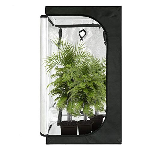 GreenArchitecture Grow Tent Reflective Mylar Hydroponic Grow Tent with Observation Window and Waterproof Floor Tray for Indoor Plant Growing (60x60x120 CM)