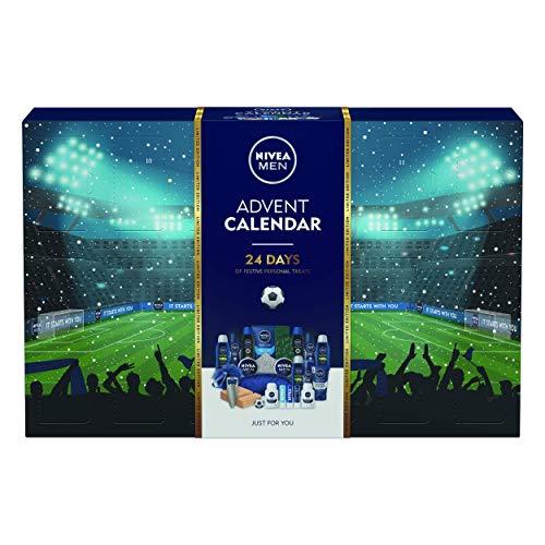 Nivea Herren Advent Geschenkset, Adventskalender 2020 für Männer mit 24 NIVEA MEN Produkten, Weihnachten Grooming Kit, Fußball Themed Geschenkset mit Herren Toilettenartikel