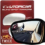 Blind Spot Mirrors. Unique design Car Door mirrors/Mirror for blind side engineered by Utopicar for larger image and traffic safety. Awesome rear view! [frameless design] (2 pack)