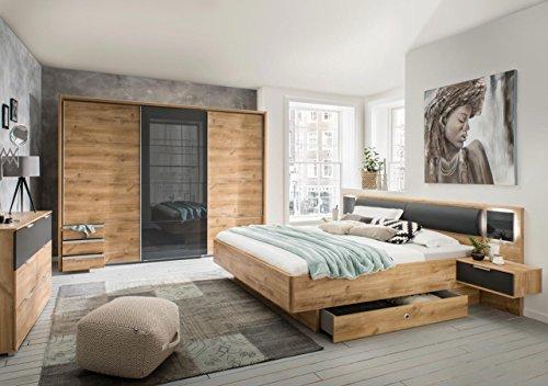 lifestyle4living Schlafzimmer Komplett Set in Eiche-Dekor und grau, 2-teilig | Modernes Komplettset mit Schwebetürenschrank und Bett, inkl. Nachtschränke