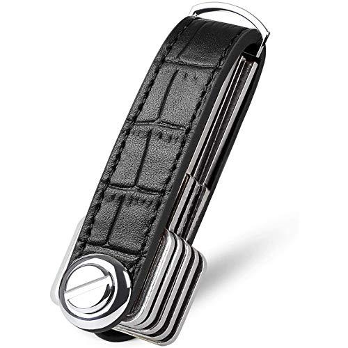 flintronic Organizador de Llaves   Llavero de Cuero Genuino   Titular de la Llave de Bolsillo Inteligente con un Elegante Estuche para Regalo (Sostiene Entre 7 y 9 Teclas Múltiples) - Negro