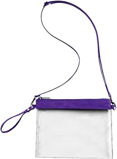 Auony Stadium Approved Clear Purse, 100% Clear Crossbody Purse Messenger Shoulder Bag Clear Handbags with Adjustable Shoulder Strap & Wrist Strap for Concerts, Sports, Games