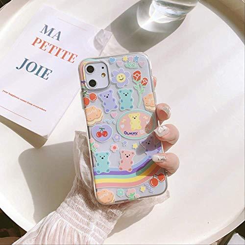 Cute Rainbow Gummy Bear Cherry Ice Cream Funda para teléfono para iPhone 12 11 Pro MAX XS MAX XR 7 8 Plus 12 Mini 7Plus Funda de Silicona para iPhone 6 Plus 02