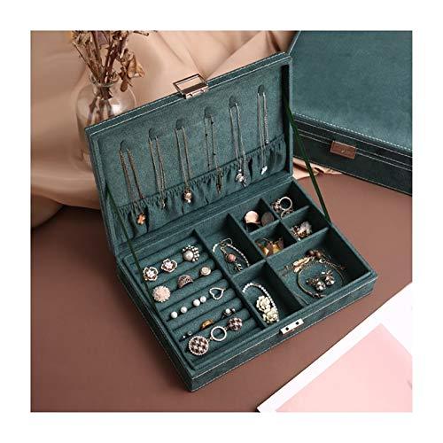 Scatole portagioie Vintage Green flanella di monili, orecchini multi-funzione, collane, orecchini Storage Box, Jewelry grande capacità di sicurezza, regalo for le donne, le ragazze portagioie per donn