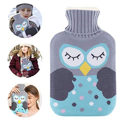 Agua Caliente Bolsa,Hot Water Bottle,Bolsa de Agua Caliente,Botellas de Agua Caliente con Suave Felpa Funda, Perfecto para Noches Frías de Invierno (B-a)